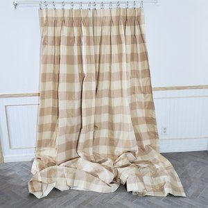 Custom Drapes Squares Lined Checked 2 Panels 44x99